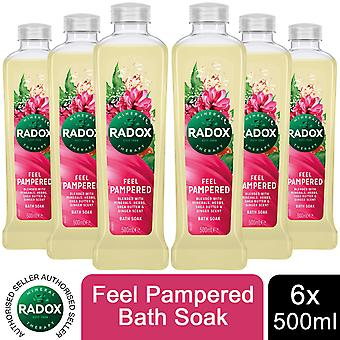 Radox 100% Nature Inspired Fragrances Bath Soak, Feel Pampered, 6 Pack, 500ml