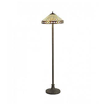 Lámpara De Pie Tiffany Carole 2 Bombillas ámbar 30,5 Cm