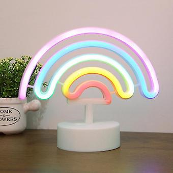 Neon Light Sign Rainbow Bedroom Wall Lamp Led Usb Battery Operated Lighting