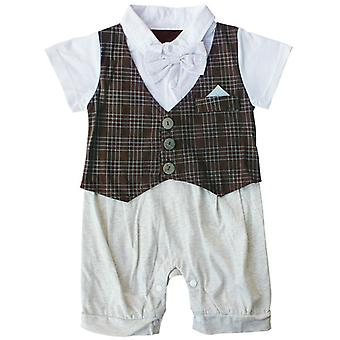 Infant Boy Bowknot Gentleman Romper Plaid Outfit 24M