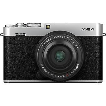 Fujifilm x-e4 appareil photo numérique sans miroir avec xf 27mm f/2.8 r wr lentille (argent)