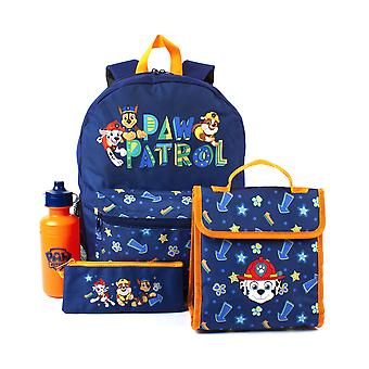 Paw Patrol Backpack 4 Piece Set | Rescue Pups School Bag, Lunch Box, Water Bottle & Pencil Case | Chase Blue Bag Merchandise One Size