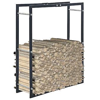 Brennholzregal Schwarz 80x25x100 Cm Stahl