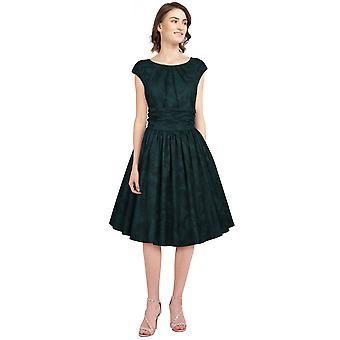 Tyylikäs tähti laskos retro mekko vihreä / lehti