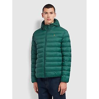 Farah Strickland Wadded Coat - Emerald Green