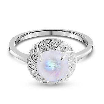 TJC Rainbow Moonstone Solitaire Ring for kvinder i Sølv Hvid Diamond 1.51ct