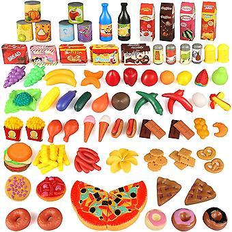 HanFei Kchenspielzeug, 139 Teile Plastik Essen Spielzeug Obst Gemse Ebensmittel Kche Kinder