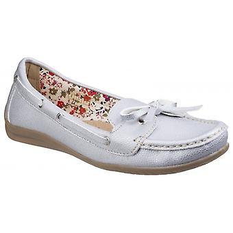 Fleet & Foster Alicante Ladies Metallic Boat Shoes Silver