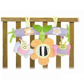 Activiteit trapeze lente met rammelaar, gevulde speelgoed en spiegel van 0 maanden