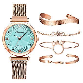 Flower Rhinestone Watch Fashion 5pcs Set Women Watches Luxury Magnet Buckle Ladies Wrist Watch Bracelet Set