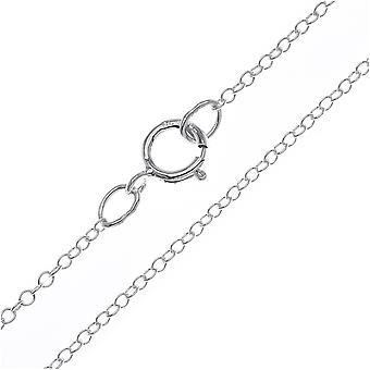 Collana catena cavi finita, anelli rotondi 1,2 mm, 16 pollici, argento sterling