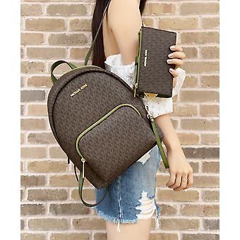 Michael kors erin medium signature mk backpack evergreen brown + matching wallet