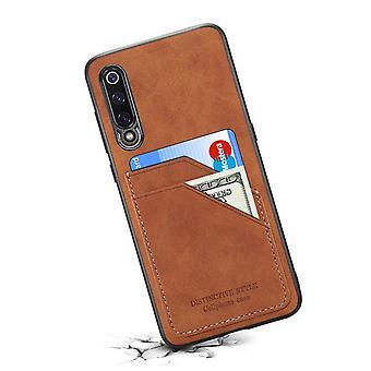 حقيبة جلدية مع فتحة بطاقة محفظة ل iPhone XS Max بني
