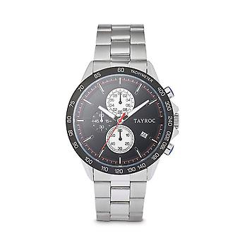 Tayroc hampton 44mm stainless steel chronograph watch black/silver
