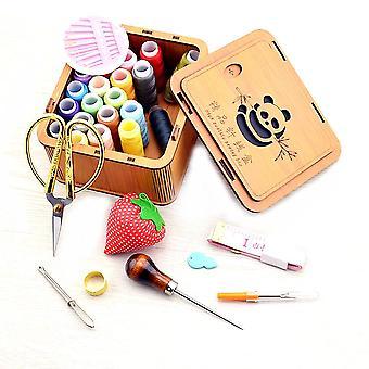 Свадебный главная Подарочная Швейная коробка Установить 24 Цвета Швейные ногти бесплатно Искусства Панда Швейный комплект