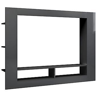 vidaXL TV-kaappi korkea kiilto harmaa 152 x 22 x 113 cm lastulevy