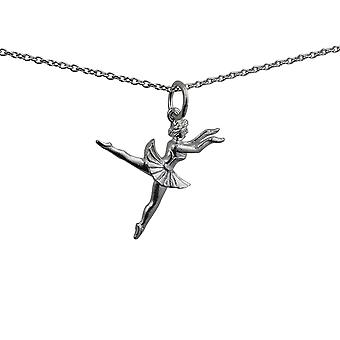 Silver 21x17mm Ballet Dancer Pendant with a rolo Chain 14 inches Only Suitable for Children