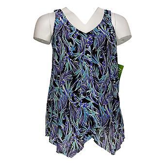 Fit 4 U Swimsuit V Neck Handkerchief Hem Tankini Top Blue A394007