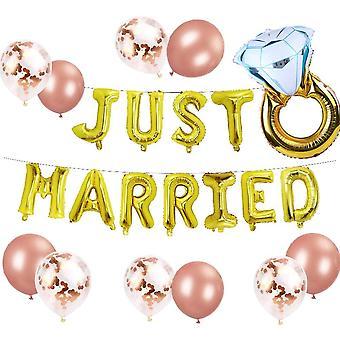 Gold Gerade Verheiratete Luftballons Gerade Verheiratete Banner Brautparty Party Dekoration