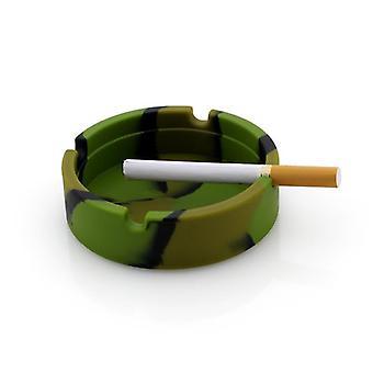 1pc Portable Camouflage  Silicone Soft Round Ashtray Anti Scalding Cigarette Holder