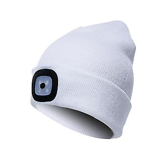 Beanie Hat With Light Unisex Usb Rechargeable Beanie Cap With Light Headlamp Beanie(Pure White)