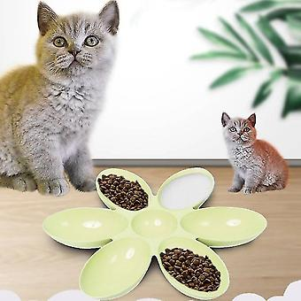 Cat and Dog Bowl Teddy Short Rice Bowl Family Pets Six-sided Petal Type Pet Supplies(Green)
