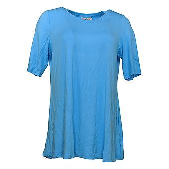LOGO par Lori Goldstein Women's Top Reg Elbow-Sleeve Blue A379902