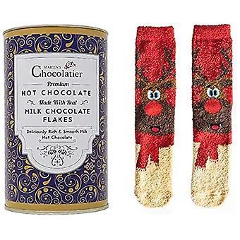 Martin's Chocolatier Hot Chocolate Drinking Chocolate Made from Real Belgian Chocolate Flakes - 300g Tin (Milk + Reindeer Socks)   Chocolate Gift   Christmas Chocolate   Stocking Filler