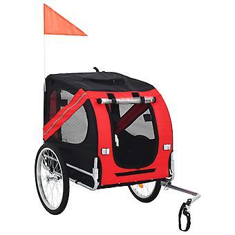 Koirankuljetuskärry polkupyörään punainen ja musta