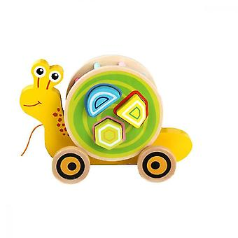 Wooden blocks baby wooden puzzle to drag toddler toy car
