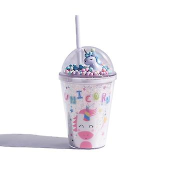 Plastic Water Cup With Straw, Double Layer, Dream Unicorn, 380ml, For Girls, Pink, For Kids