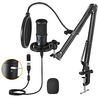 Aveek Condenser Microphone, Pc Recording Microphone With Mute Button, Headphone Monitoring And Noise Cancelling, For Ps4 Games, Streaming, Podcast, St