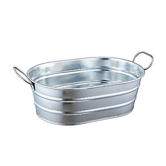 Mini Galvanised Oval Steel Tub approx 2l capacity with Handles