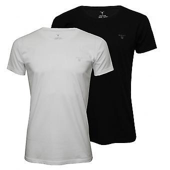 GANT 2-Pack Rundhals-T-Shirts, schwarz/weiß