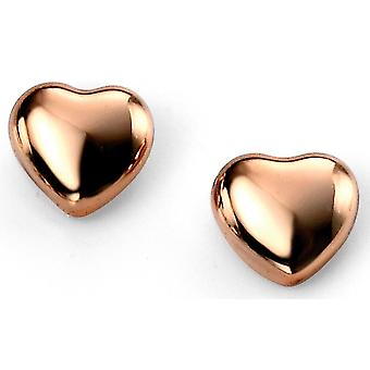 925 Silver Rose Gold Plated Heart Trend Earring
