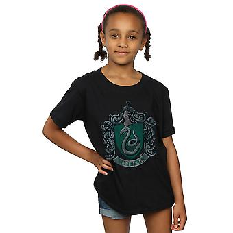 Harry Potter Girls Slytherin Distressed Crest T-Shirt