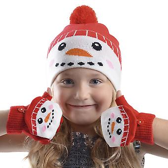 RJM Kids Christmas Beanie Hat & Mitten Cap Gloves Red Snowman
