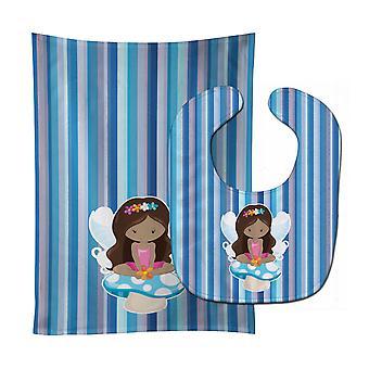 Carolines Treasures  BB6917STBU Fairy Blue Stripes Baby Bib & Burp Cloth