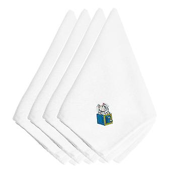 Christmas Toy Rabbit N' a Box Embroidered Napkins Set of 4