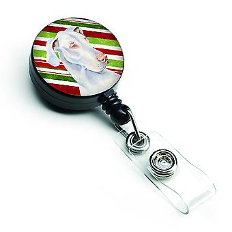 Great Dane Candy Cane Holiday Christmas Retractable Badge Reel