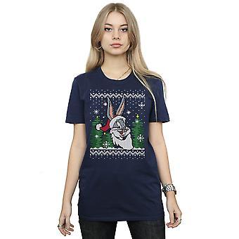 Looney Tunes Women's Bugs Bunny Christmas Fair Isle Boyfriend Fit T-Shirt
