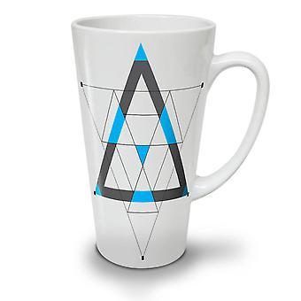 Triangles Shapes NEW White Tea Coffee Ceramic Latte Mug 17 oz | Wellcoda