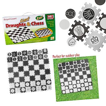 MY 2 in 1 Giant Draughts and Chess Set Game For The Garden Or Indoors