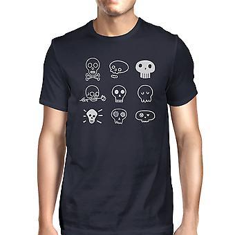 Skulls T-Shirt For Halloween Mens Navy Graphic Tee Short Sleeve