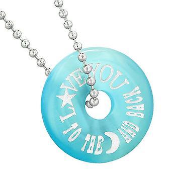 Inspirerende Love du månen og tilbake Amulet heldig bolle blå simulert katter øye halskjede