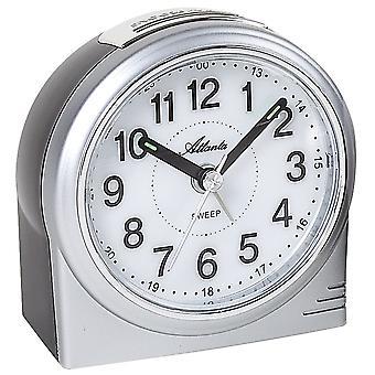 アトランタ 1956/19 目覚まし時計石英アナログ銀光スヌーズでカチカチ音をたてることがなく静かに