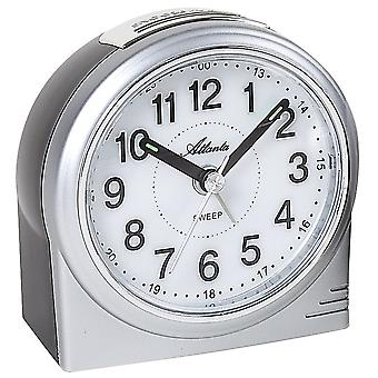 Atlanta 1956/19 alarm clock quartz analog silver quietly without ticking with light Snooze
