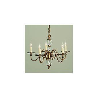 Interiors 1900 Tilburg Flemish Chandelier In Antique Brass With Crystal Spheres