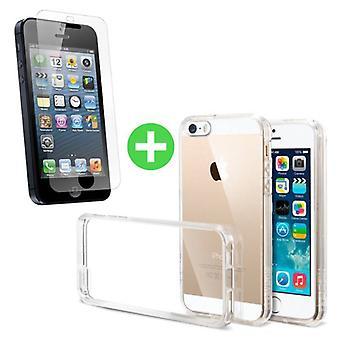Stuff Certified® iPhone 5C läpinäkyvä TPU-kotelo + näytön suoja karkaistu lasi
