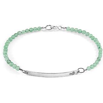 Âncora e tripulação pureza aventurina verde pedra e prata pulseira - verde
